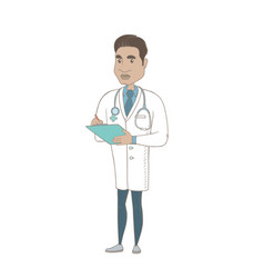 Hispanic doctor holding clipboard with documents vector