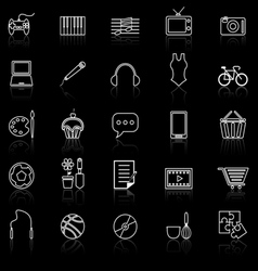 Hobline icons with reflect on black vector