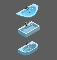 isometric clogged sink isolated icons vector image