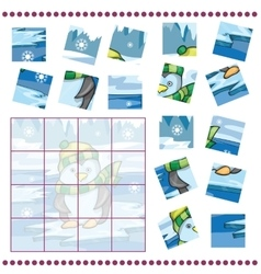 Jigsaw Puzzle game for Children with penguin on vector image