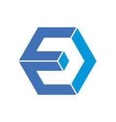letter e polygon concept logo icon vector image