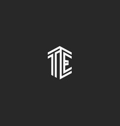 Letters te logo monogram template two lines vector