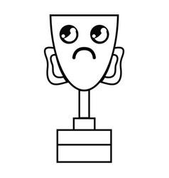 Line kawaii cute sad prize cup vector