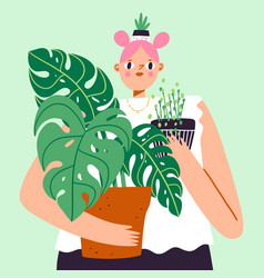 lovely girl with a lot house plants plant vector image