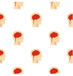 Man head silhouette with brain inside pattern vector