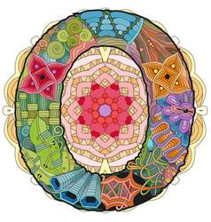 Mandala with letter o decorative entangle vector