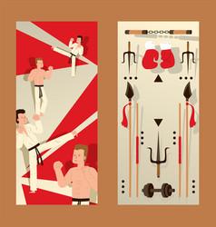 martial arts vertical banner karate people vector image