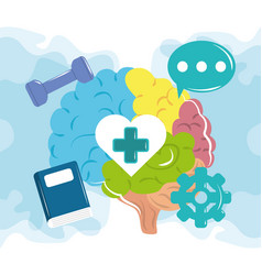 Mental health day human brain activities vector