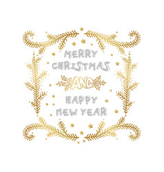 merry christmas and happy new year words on white vector image
