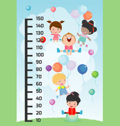 meter wall with children playing vector image