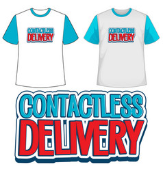 Mock up shirt with contactless delivery icon vector