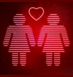Neon icon lesbian couple in love vector