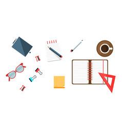 office worker workplace elements set freelancer vector image