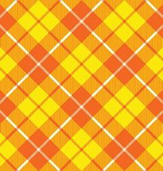 Orange yellow tartan fabric texture diagonal vector