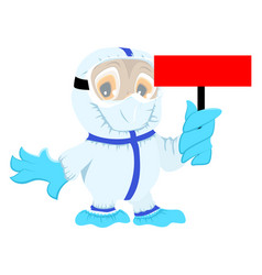 Owl doctor in protective medical suit holds red vector