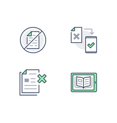 paperless line icons included vector image