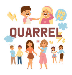 quarrel people man woman character in vector image