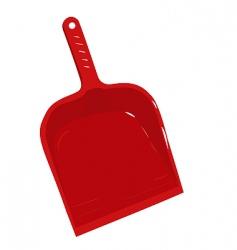 Red plastic scoop for dust vector