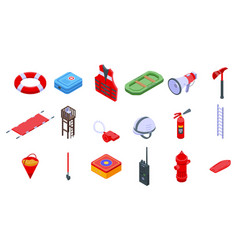 Rescuer icons set isometric style vector