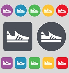 Running shoe icon sign a set of 12 colored buttons vector