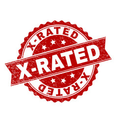 Scratched textured x-rated stamp seal vector