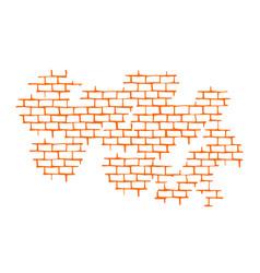 seam brick wall texture pattern orange flat vector image