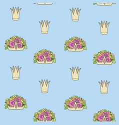 seamless pattern from gold tiaras various shapes vector image