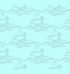 seamless pattern with a sailor on a ship with wave vector image