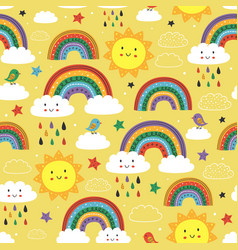 seamless pattern with cute rainbow cloudsun vector image