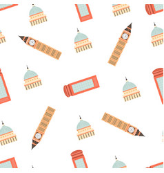 seamless pattern with london ladmarks vector image