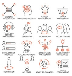 set icons related to business management - 36 vector image