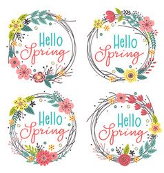 Set isolated spring floral frames vector