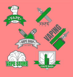 set of different vaping logotypes colored on pink vector image