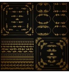 Set of gold decorative borders frame vector