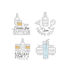 set of original emblems for cocktail bar or vector image