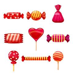 Set single cartoon candies lollipop candy vector
