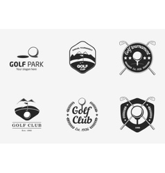 set vintage black and white golf championship vector image