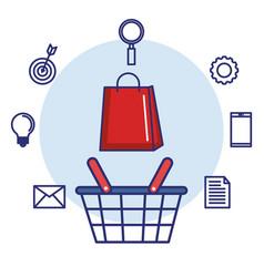 shopping basket and paper bag gift digital vector image