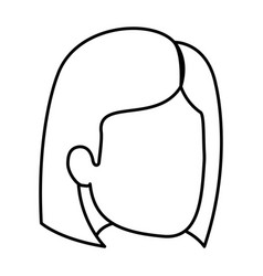 Sketch silhouette of woman faceless with hair and vector