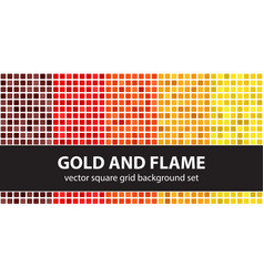 Square pattern set gold and flame seamless tile vector