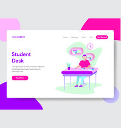 student learning on desk concept vector image