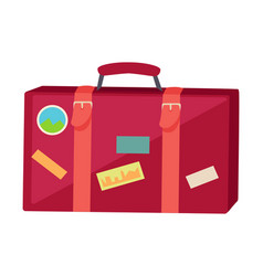 suitcase with travel stickers isolated on white vector image