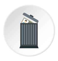 Summary in trash icon flat style vector image