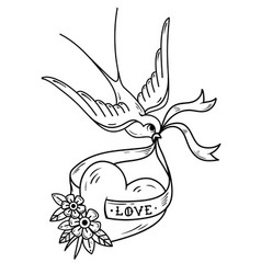 swallow carries over heart on ribbon monochrome vector image