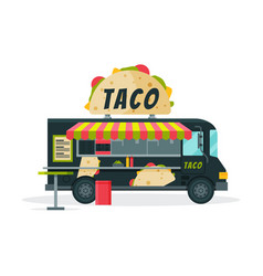 Taco food truck street meal vehicle fast food vector