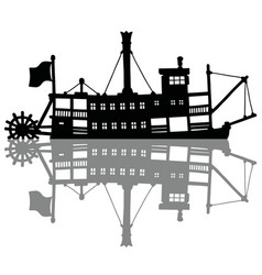the black silhouette of a vintage steamer vector image