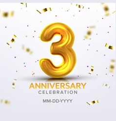 third anniversary birth celebration number vector image
