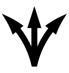 Three way direction arrow the black color icon vector