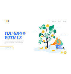 Time is money investment website landing page vector