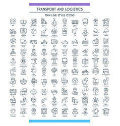transport and logistic line big set vector image